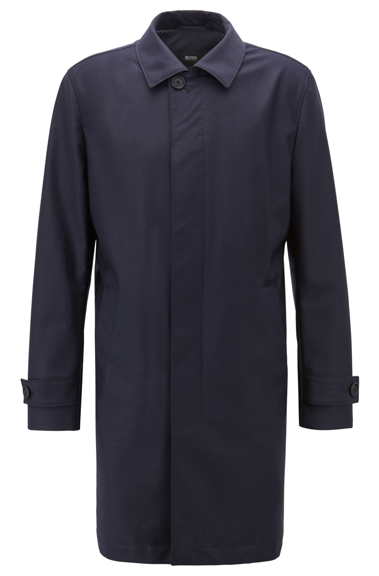 Travel Line coat in virgin wool with perforated lining, Dark Blue