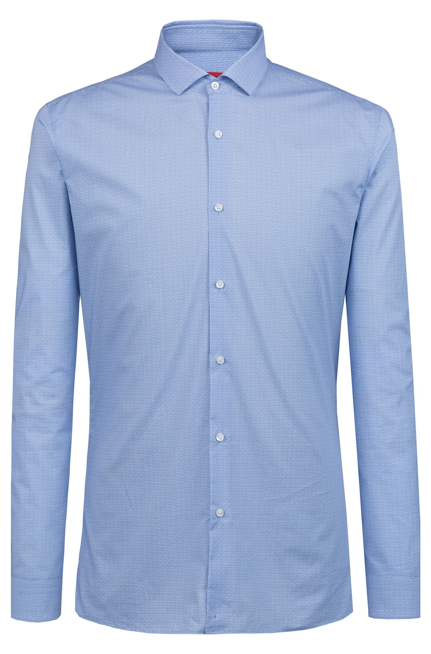 Extra-slim-fit cotton shirt with logo print, Patterned