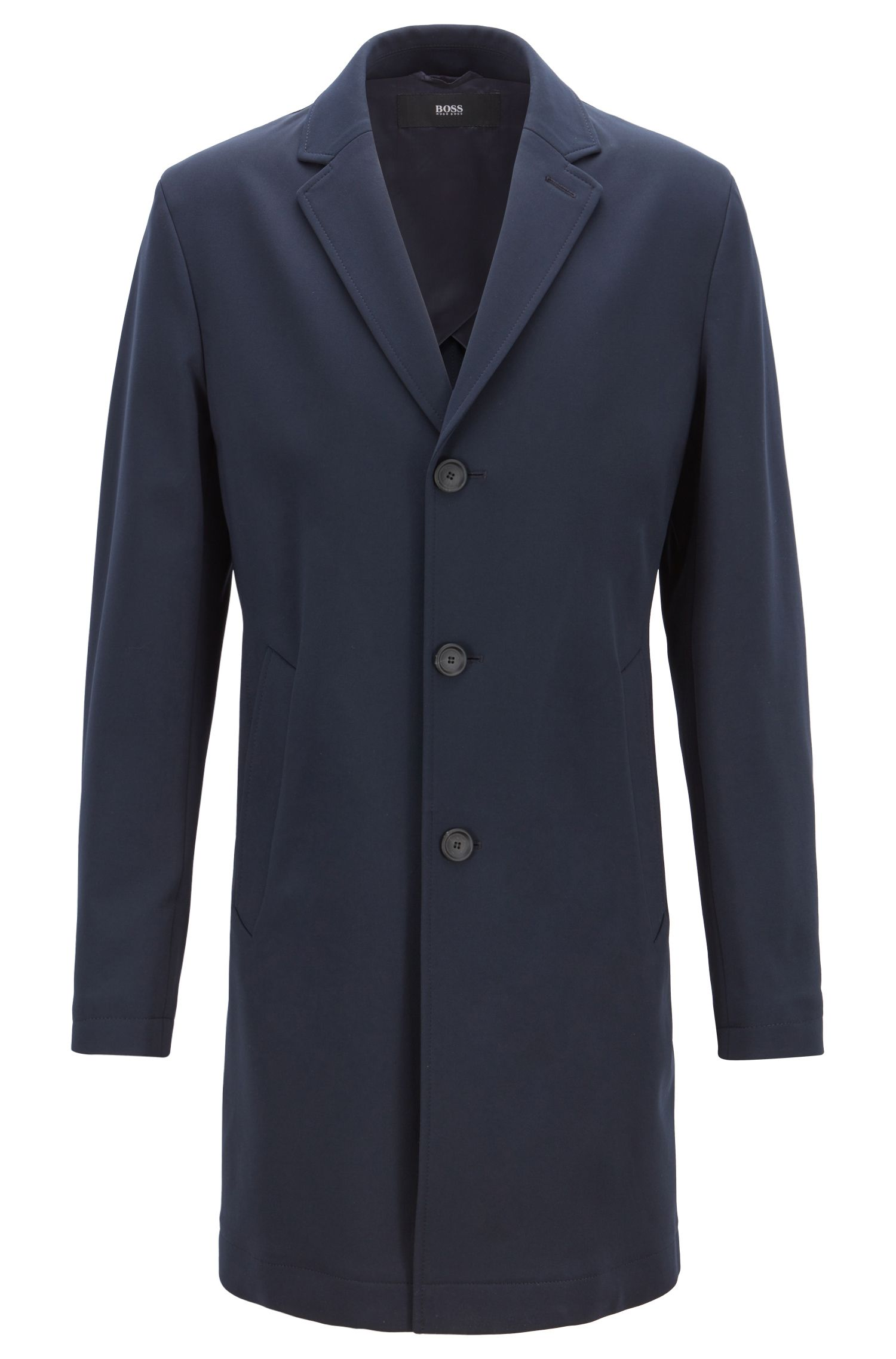 Slim-fit formal coat with checked undercollar, Dark Blue