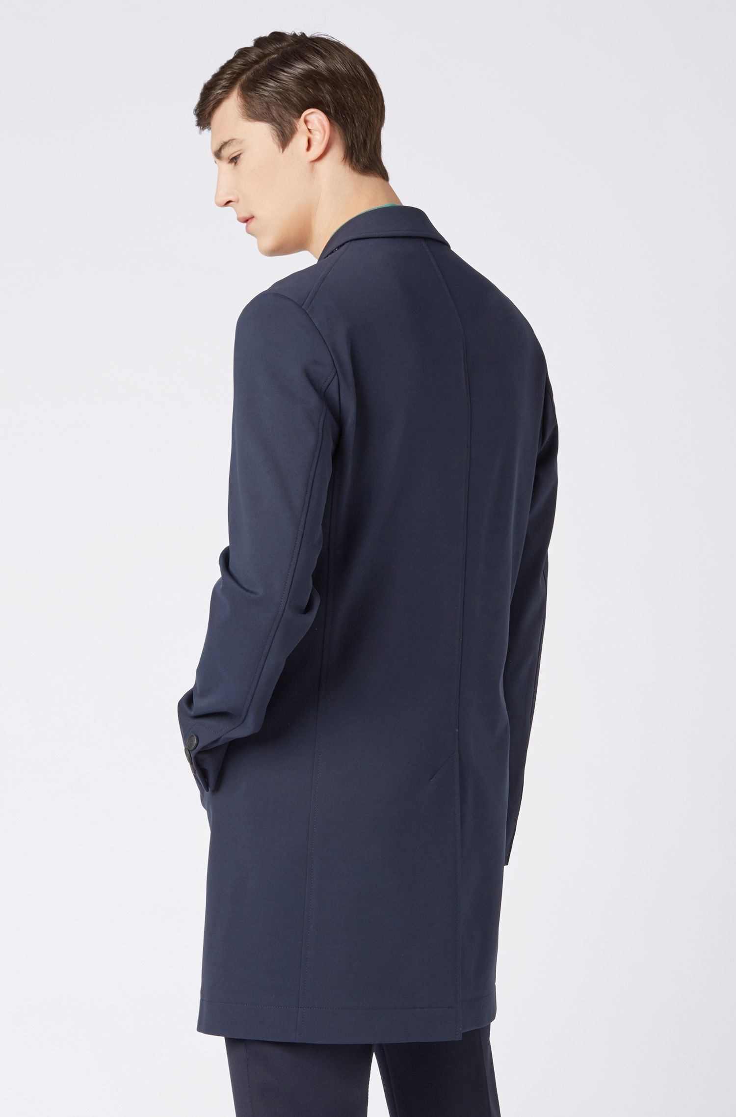 Hugo Boss - Slim-Fit Mantel mit karierter Kragenunterseite - 8