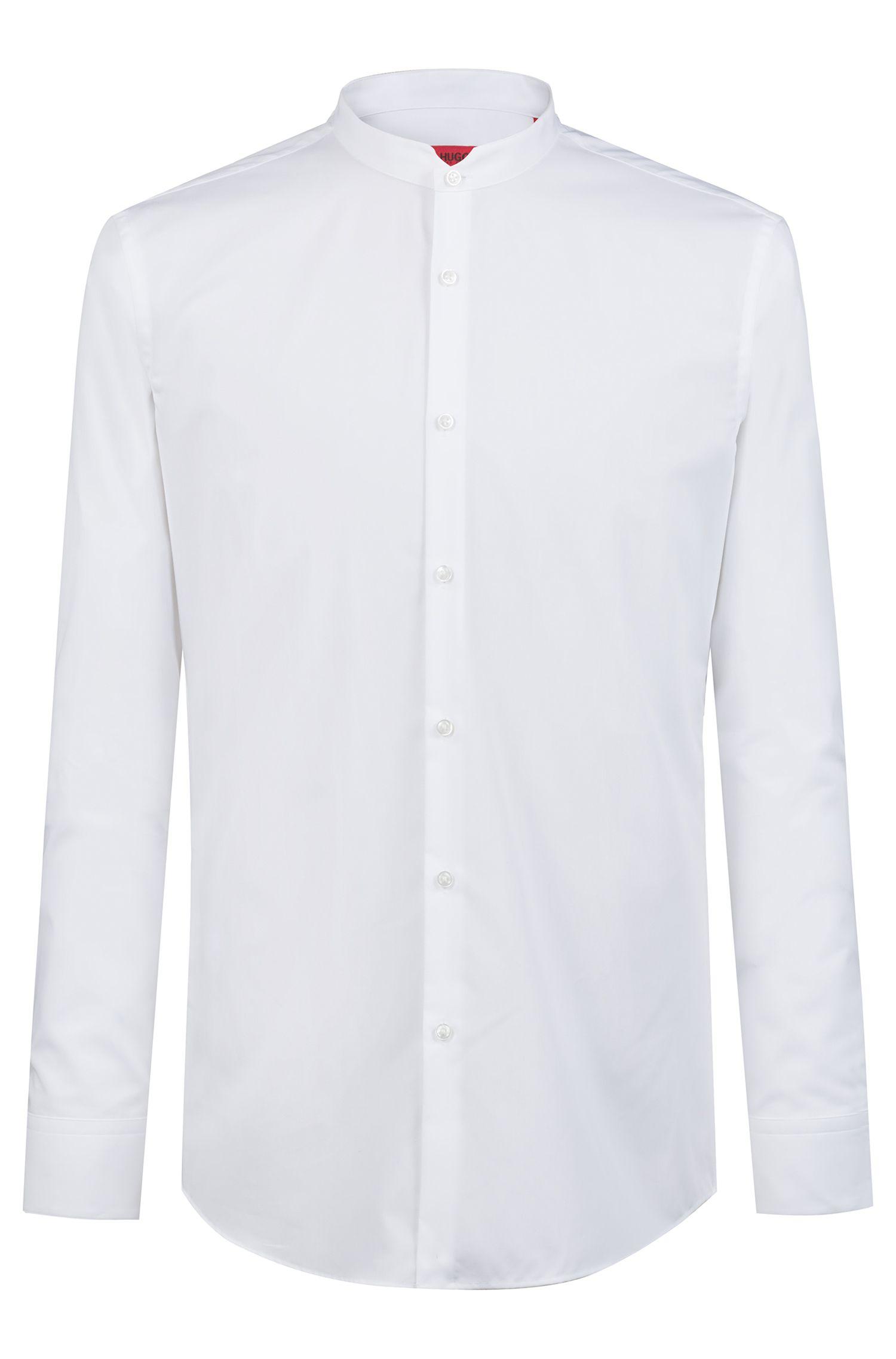 Slim-fit overhemd in een popeline van katoen met opstaande kraag, Wit
