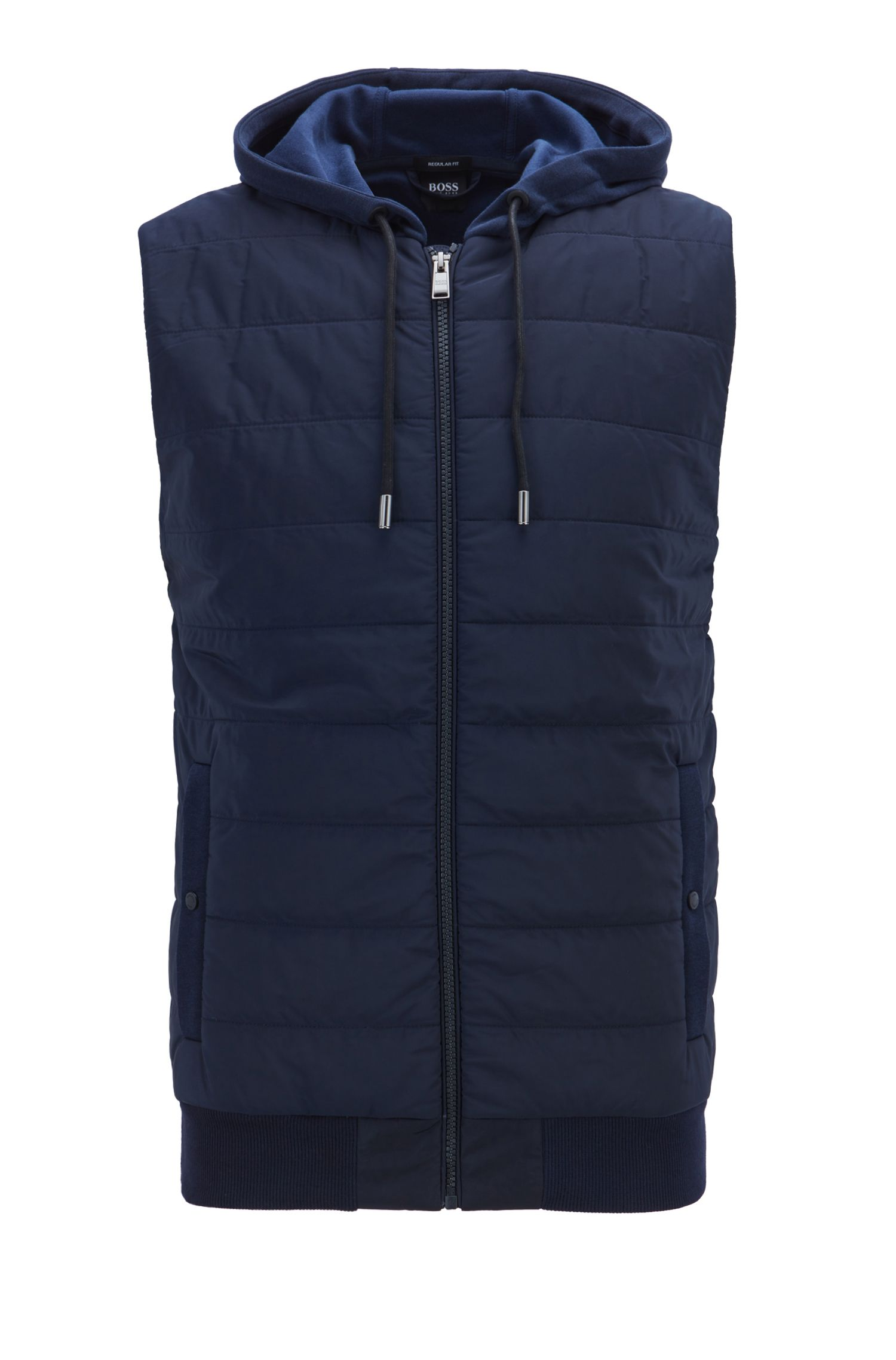 Zip-through gilet with hood and padded front panel, Dark Blue