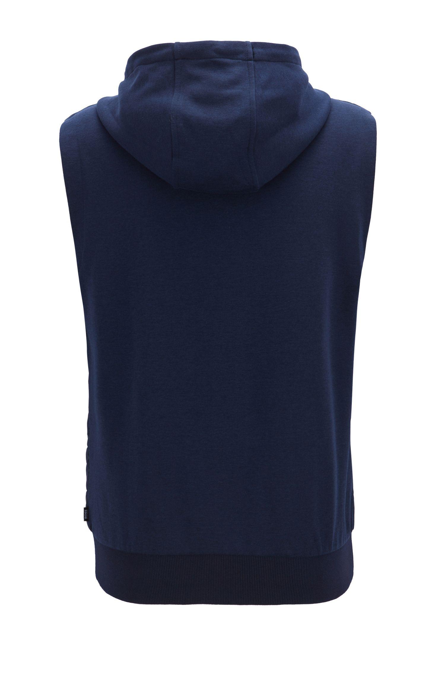 Veste zippée sans manches à capuche et panneau avant rembourré, Bleu foncé