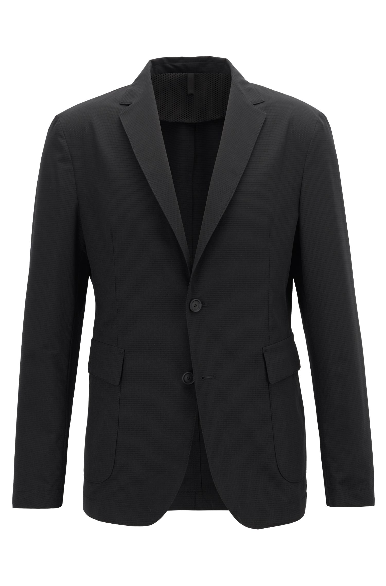 Travel Line slim-fit jacket in micro-patterned fabric, Black
