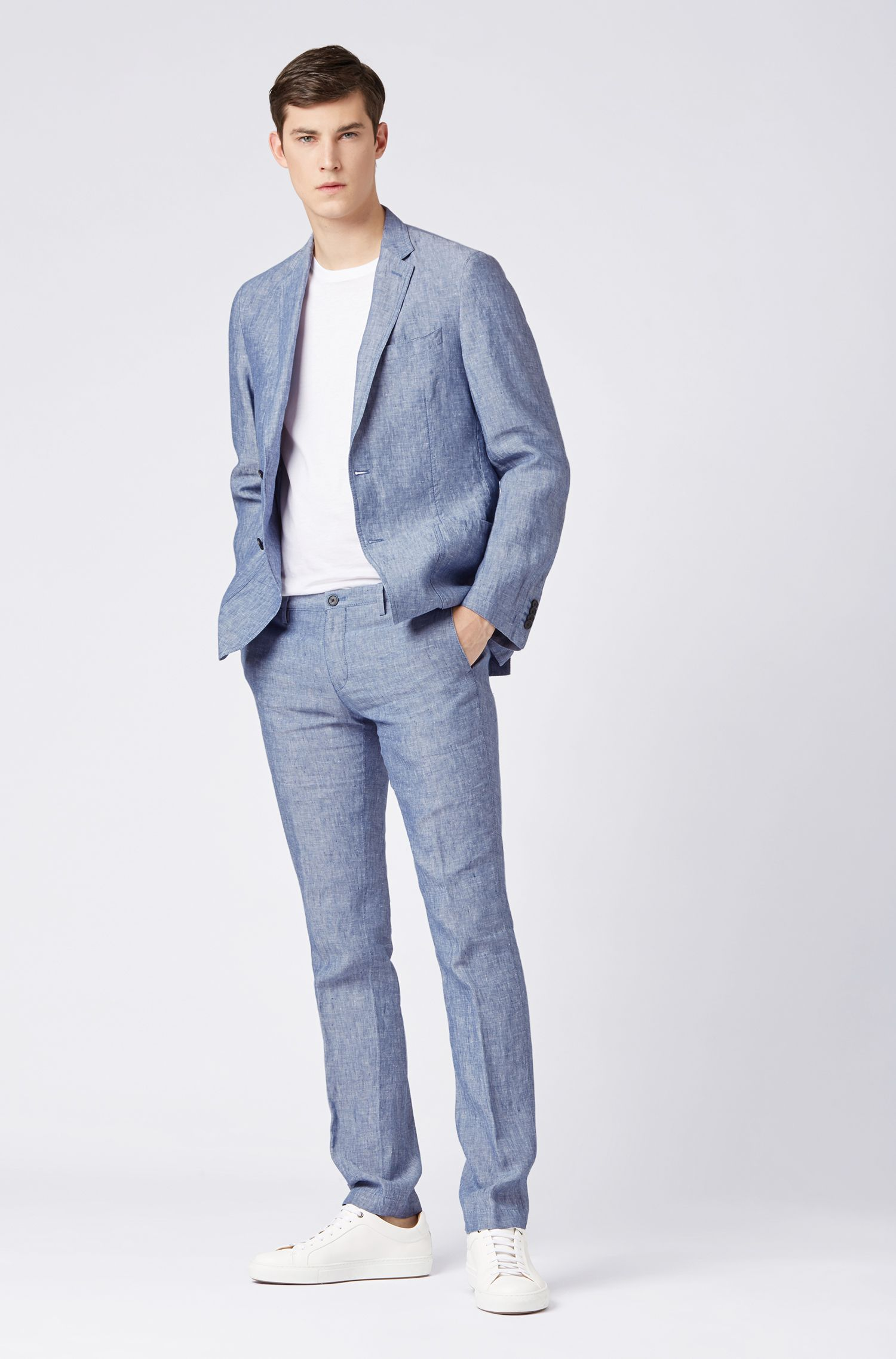 Linen jacket in a slim fit, Light Blue
