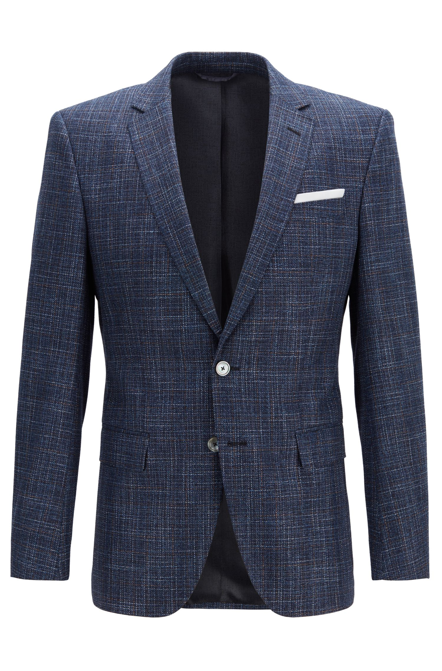 Slim-fit micro-patterned jacket with pocket square, Open Blue