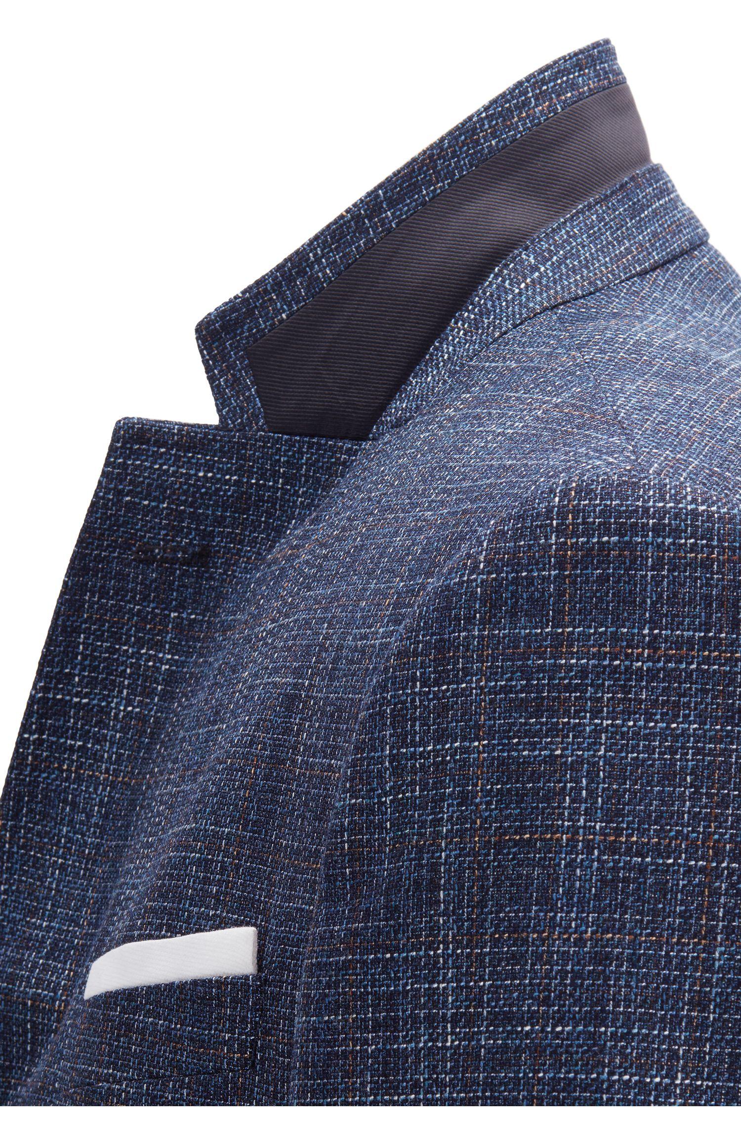 Fein gemustertes Slim-Fit Sakko aus einem Schurwoll-Mix mit Einstecktuch, Hellblau