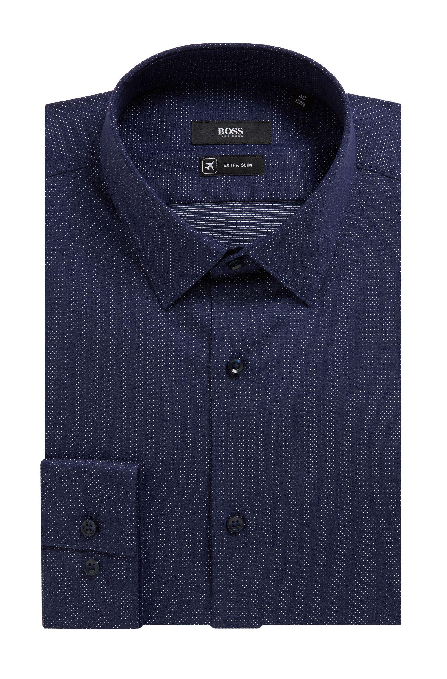 Camicia extra slim fit in cotone elasticizzato con micropois, Blu scuro