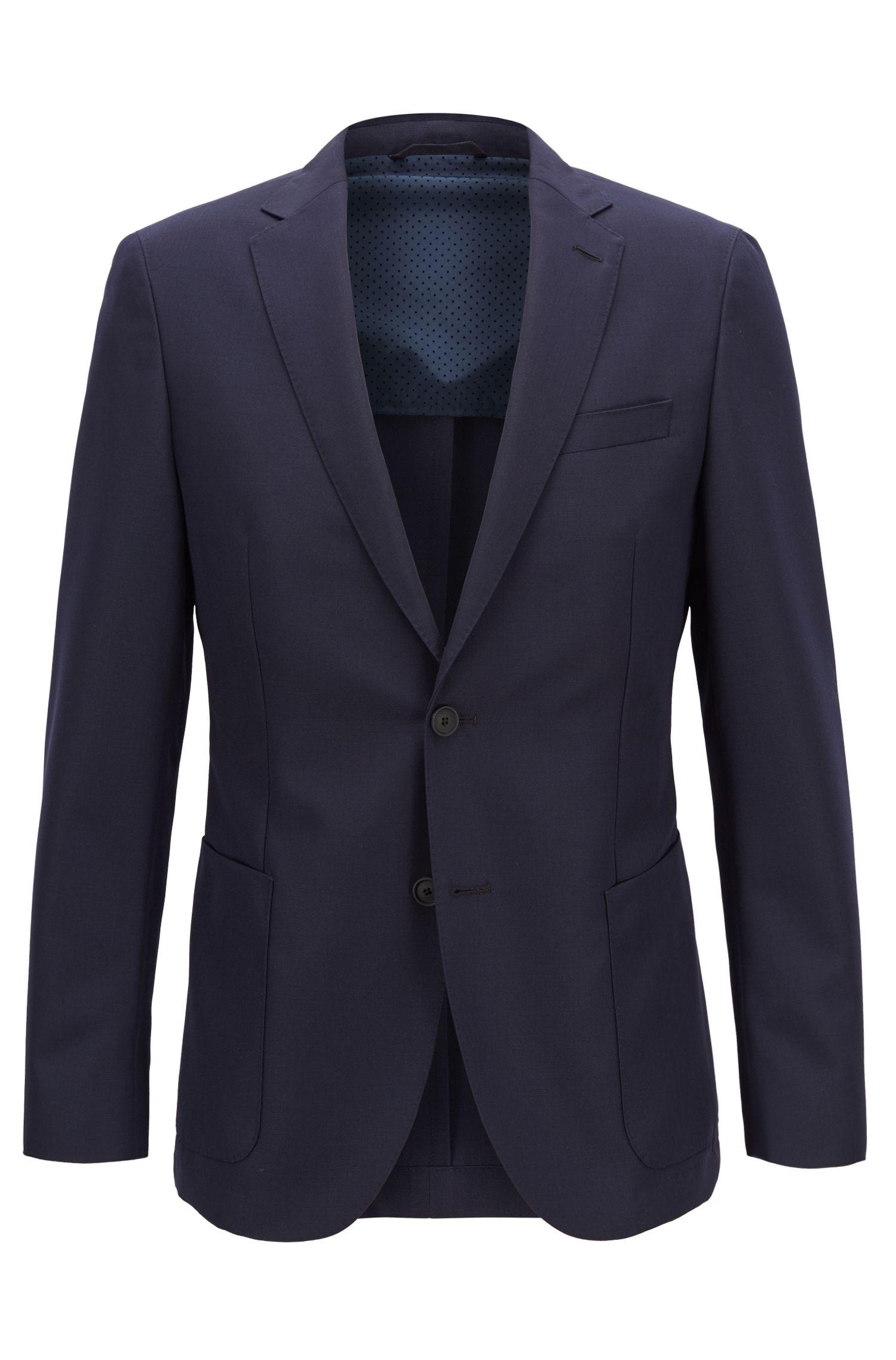 Travel Line slim-fit jacket in a wool blend, Dark Blue