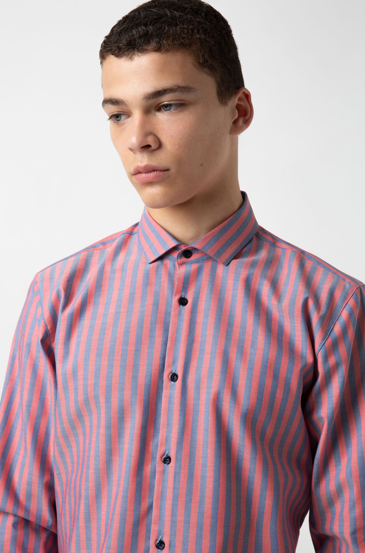 Extra-slim-fit shirt in striped Oxford cotton, Patterned