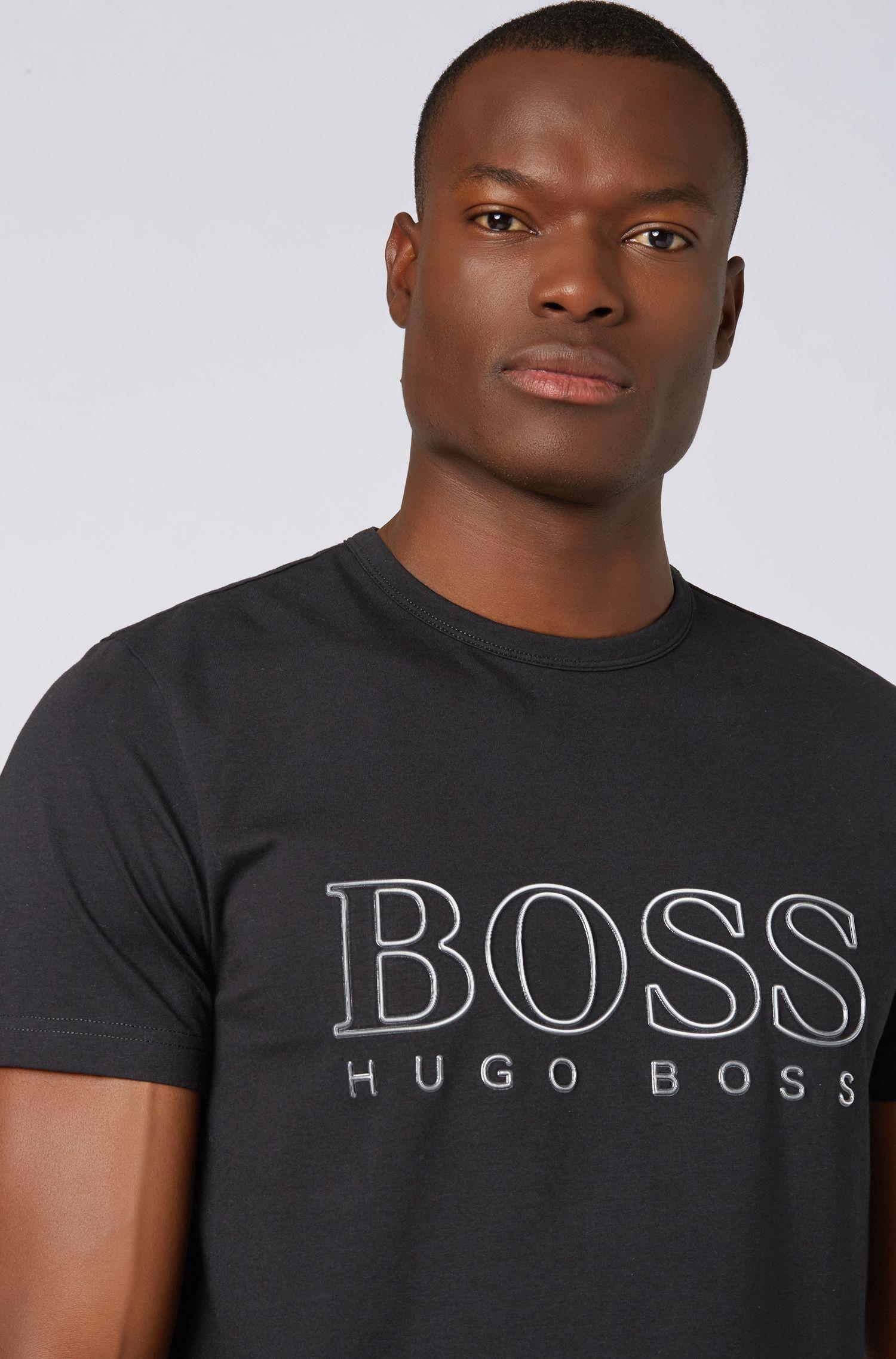 Camiseta de cuello redondo en algodón elástico con logo reflectante, Negro