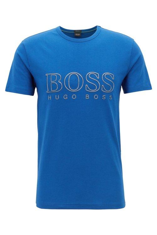 Hugo Boss - Camiseta de cuello redondo en algodón elástico con logo reflectante - 1