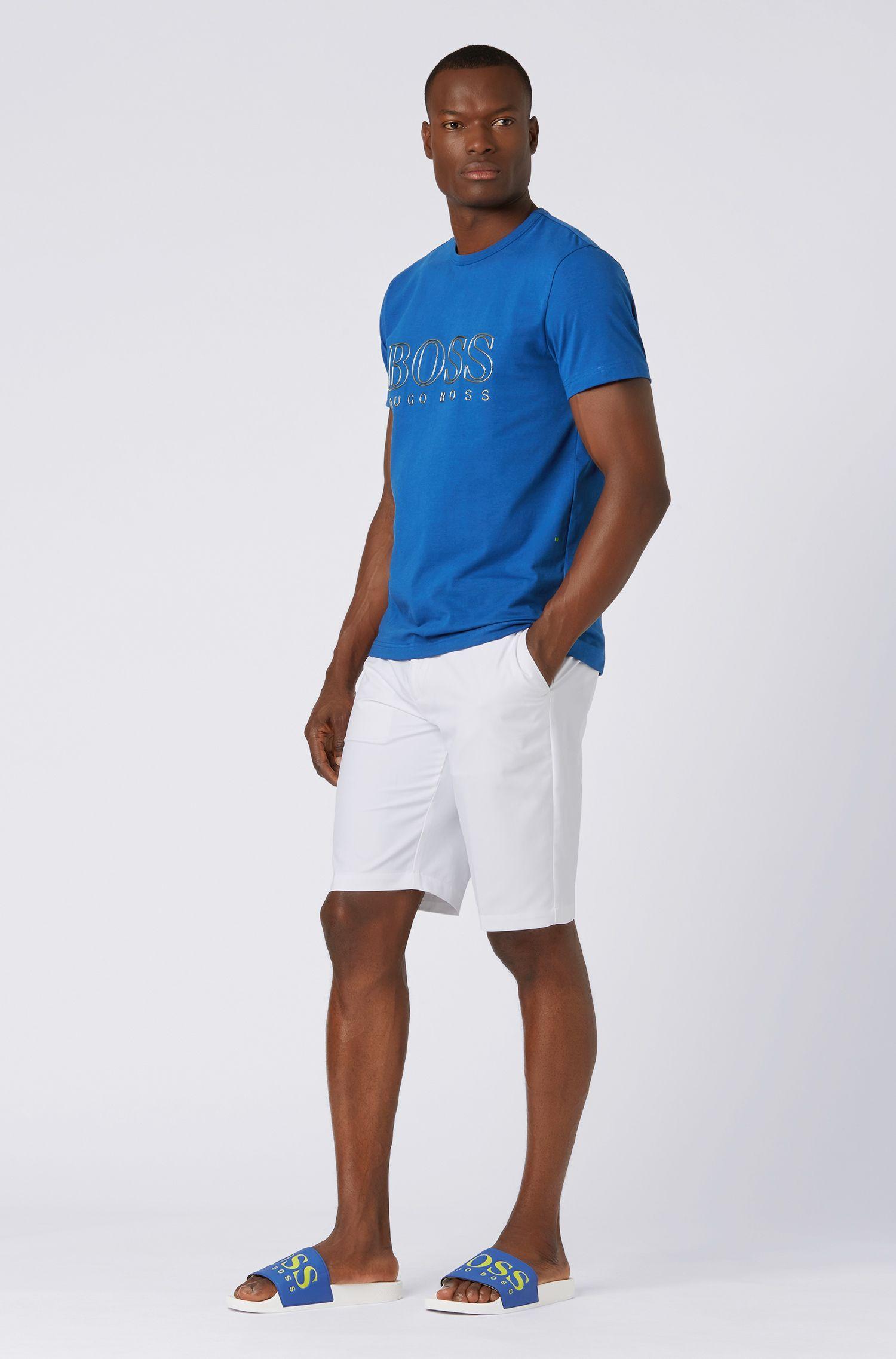 T-shirt met ronde hals van stretchkatoen met reflecterend logo, Lichtblauw