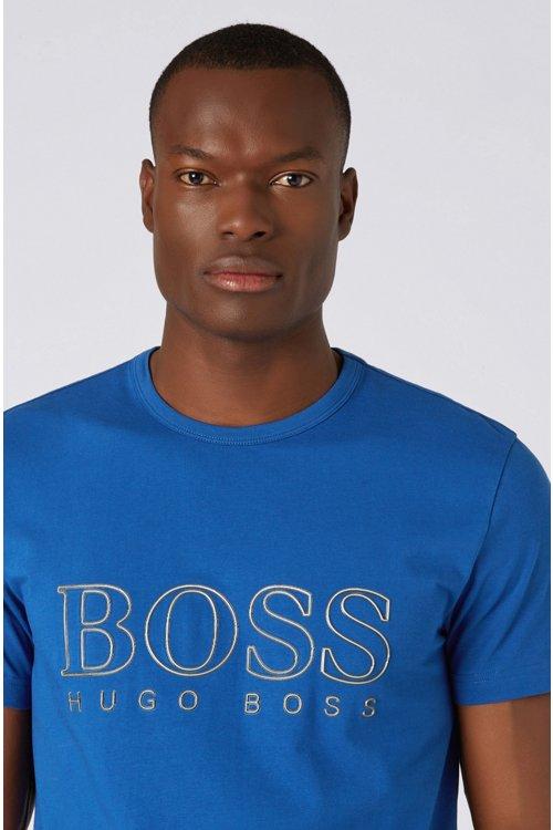 Hugo Boss - Camiseta de cuello redondo en algodón elástico con logo reflectante - 4