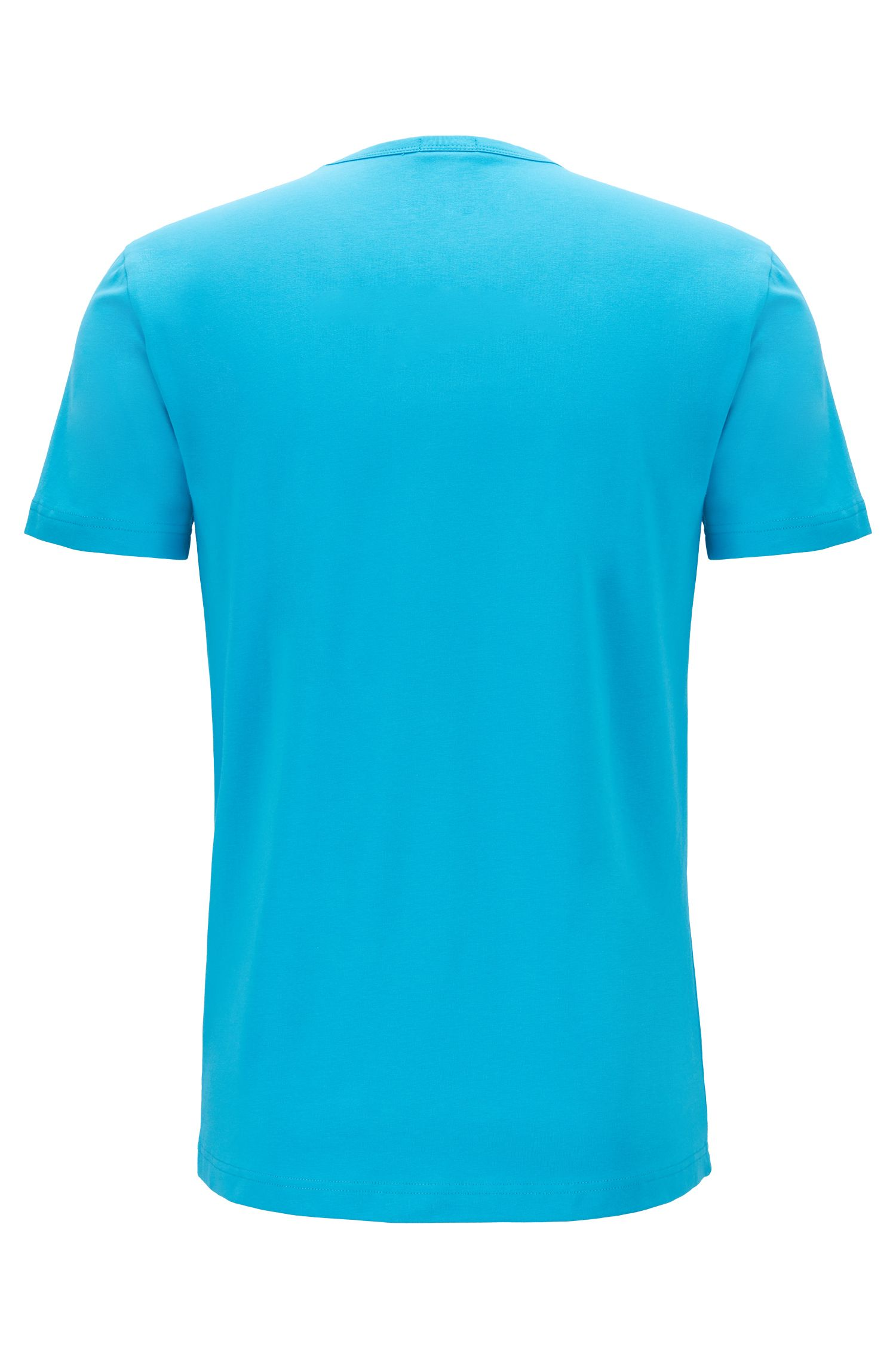 Crew-neck T-shirt in stretch cotton with reflective logo, Blue