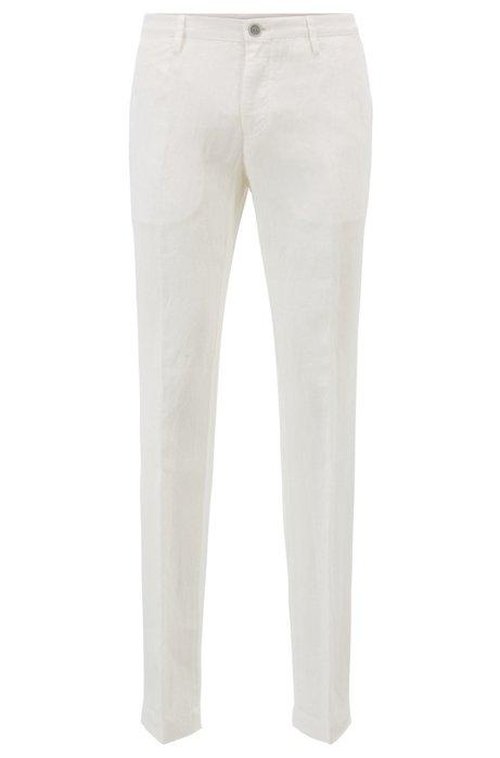 Slim-Fit Hose aus Leinen, Weiß