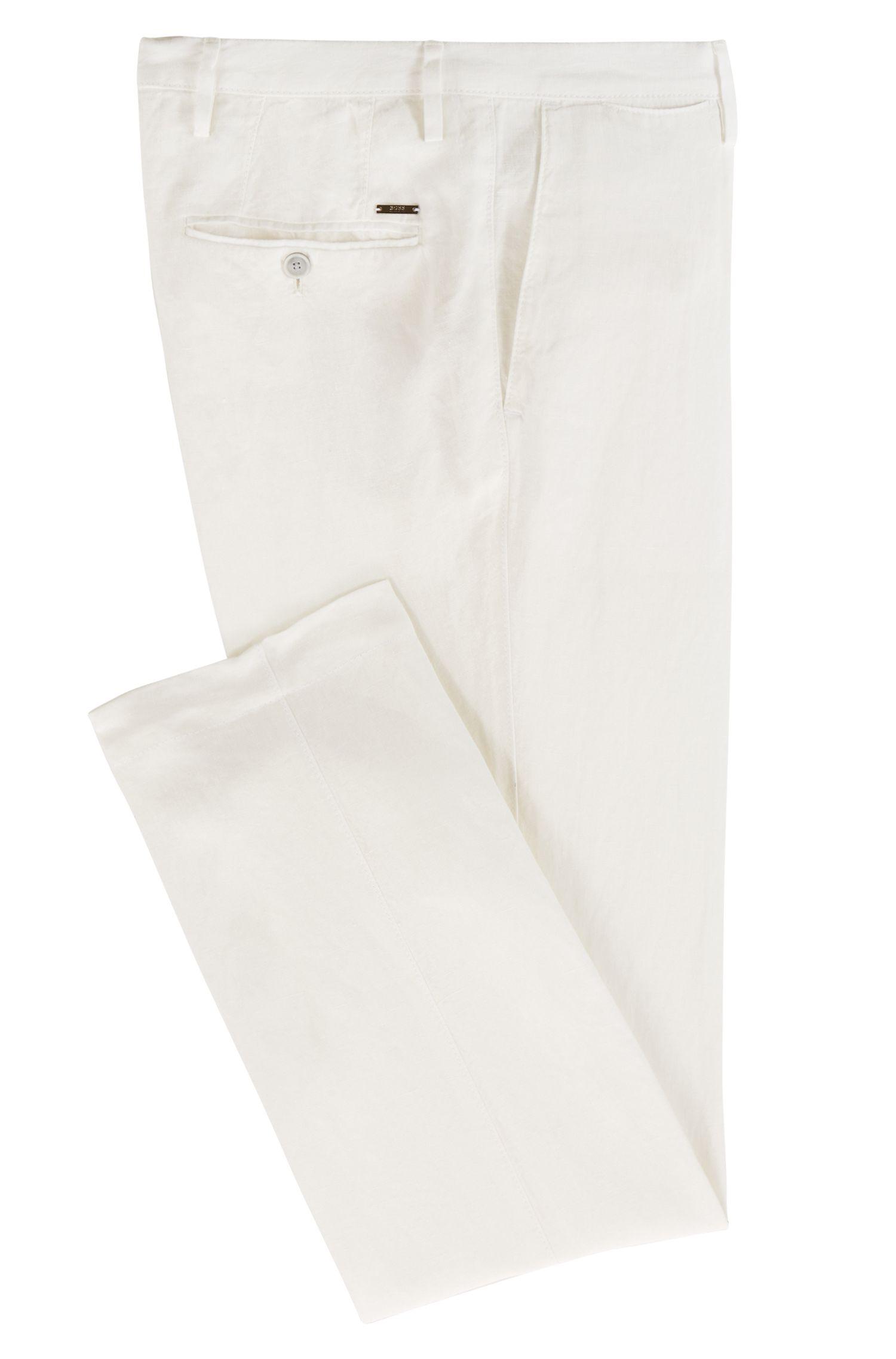 Pantalones slim fit de lino, Blanco