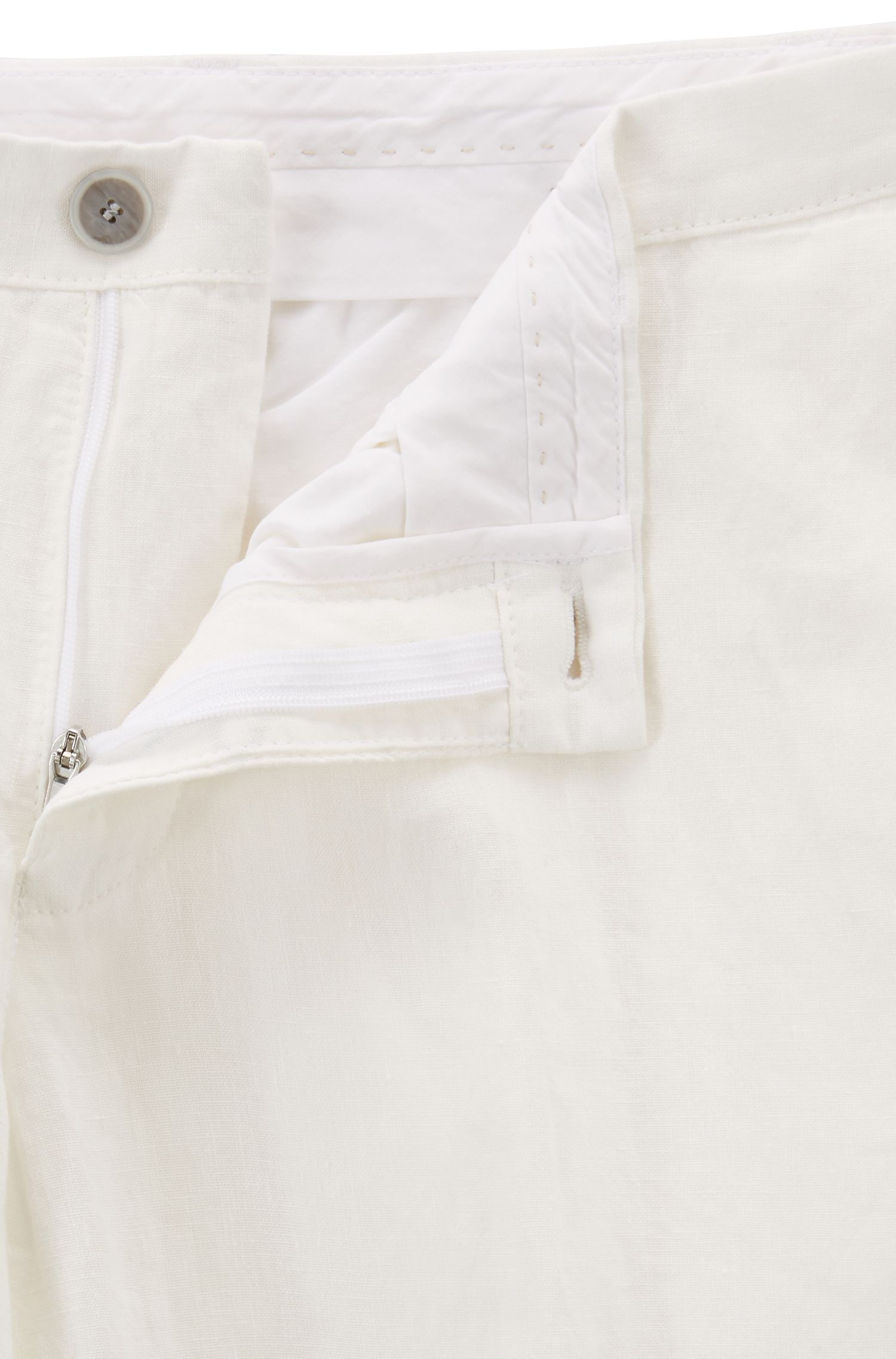 Linen trousers in a slim fit, White