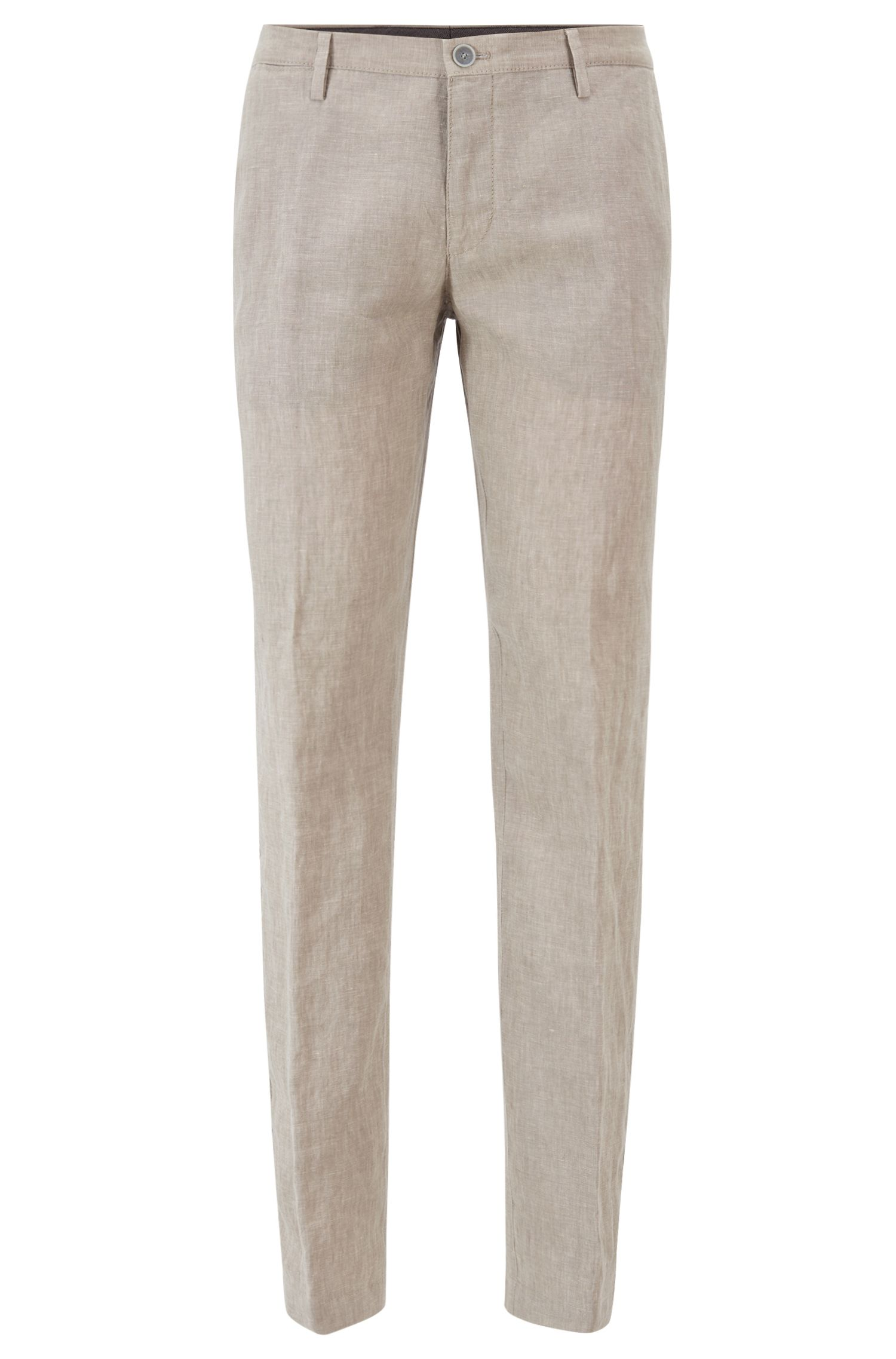 Linen trousers in a slim fit, Natural