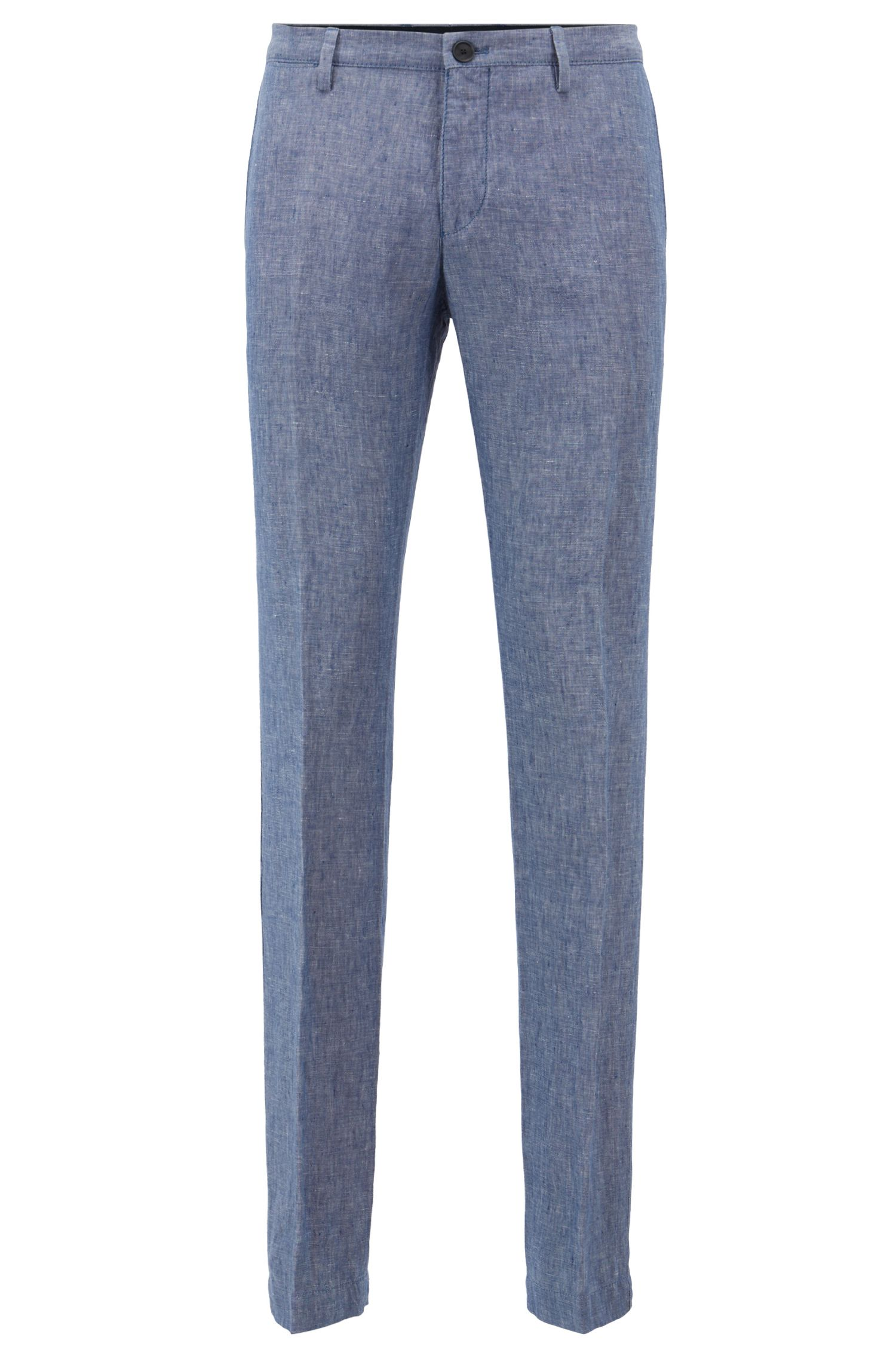 Pantalon Slim Fit en lin, Bleu vif