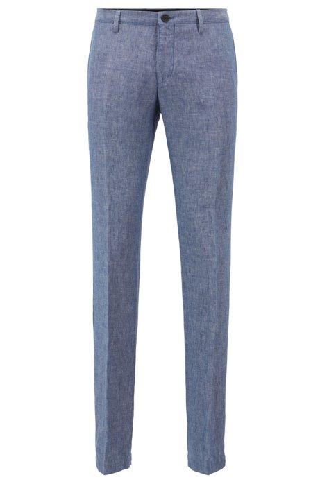 Pantalon Slim Fit en lin, Bleu vif