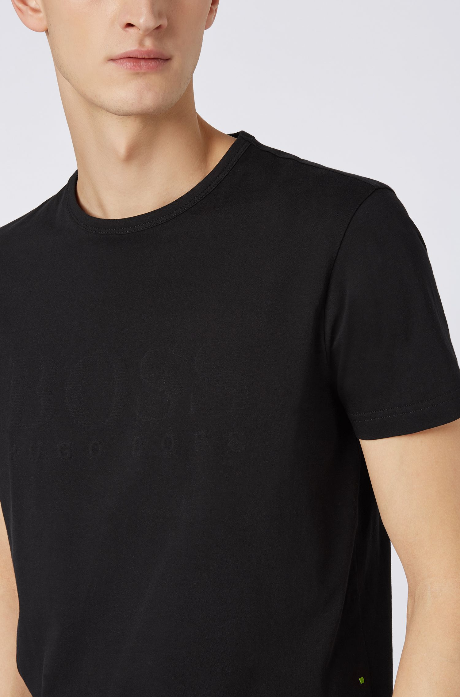 Cotton T-shirt with tonal logo print, Black