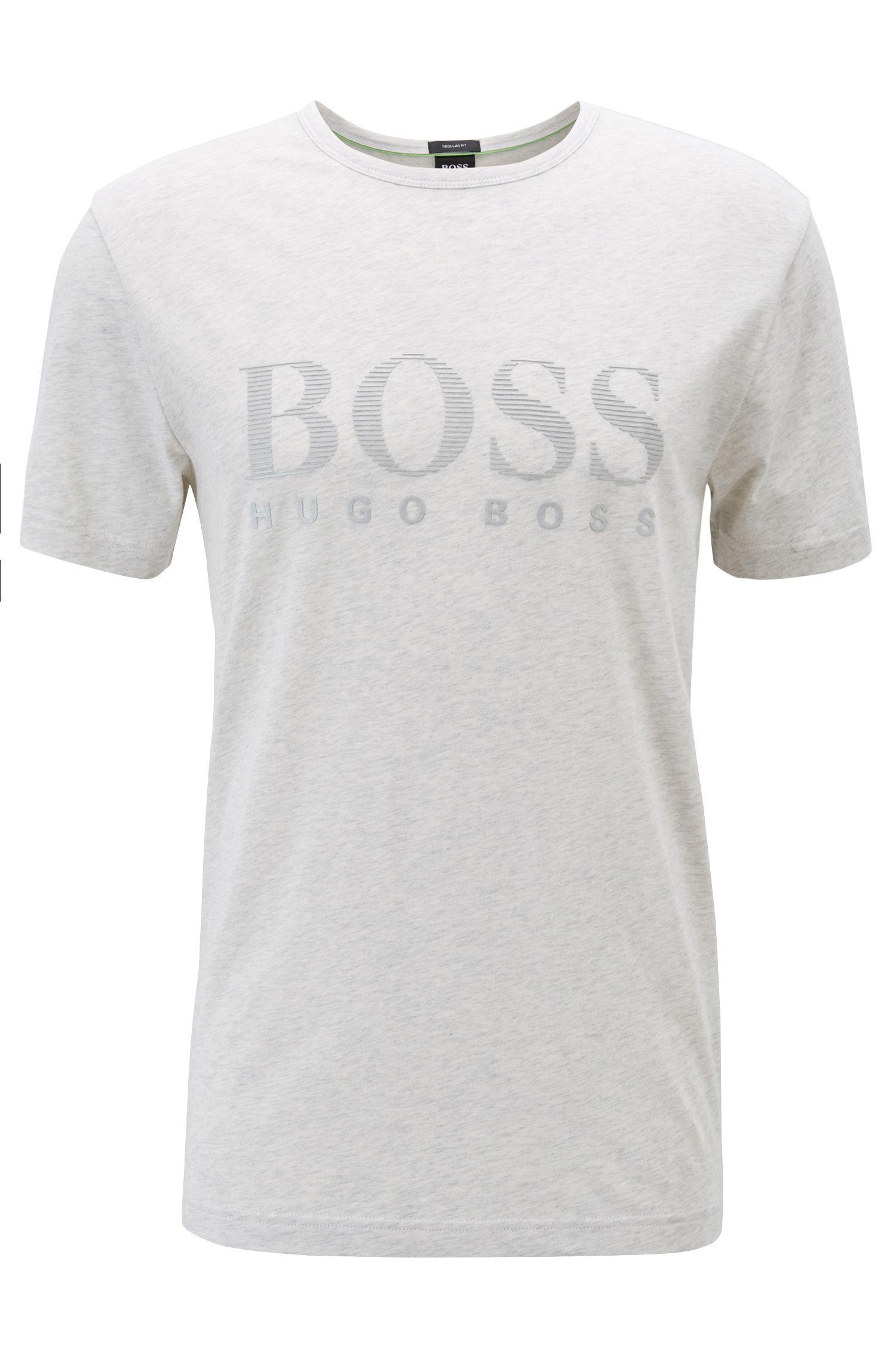 T-Shirt aus Baumwolle mit tonalem Logo-Print, Hellgrau