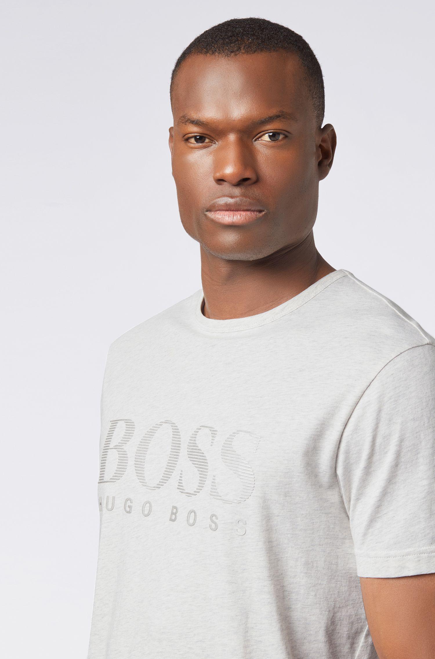 Cotton T-shirt with tonal logo print, Light Grey