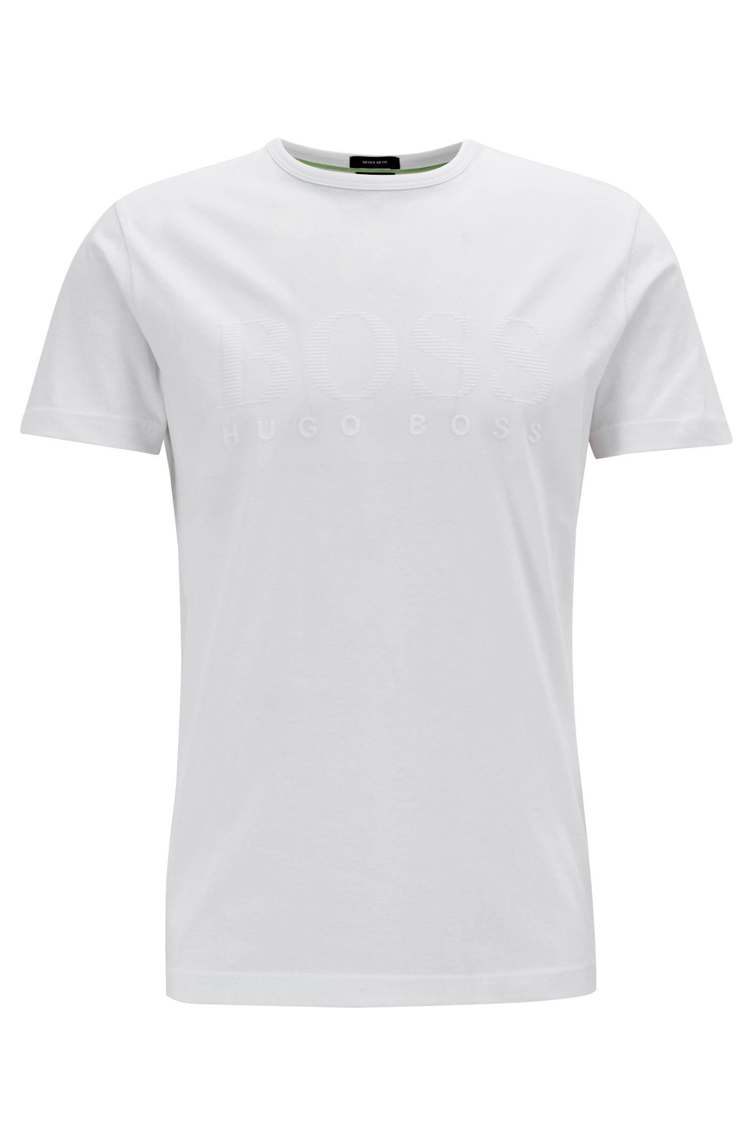 Cotton T-shirt with tonal logo print, White