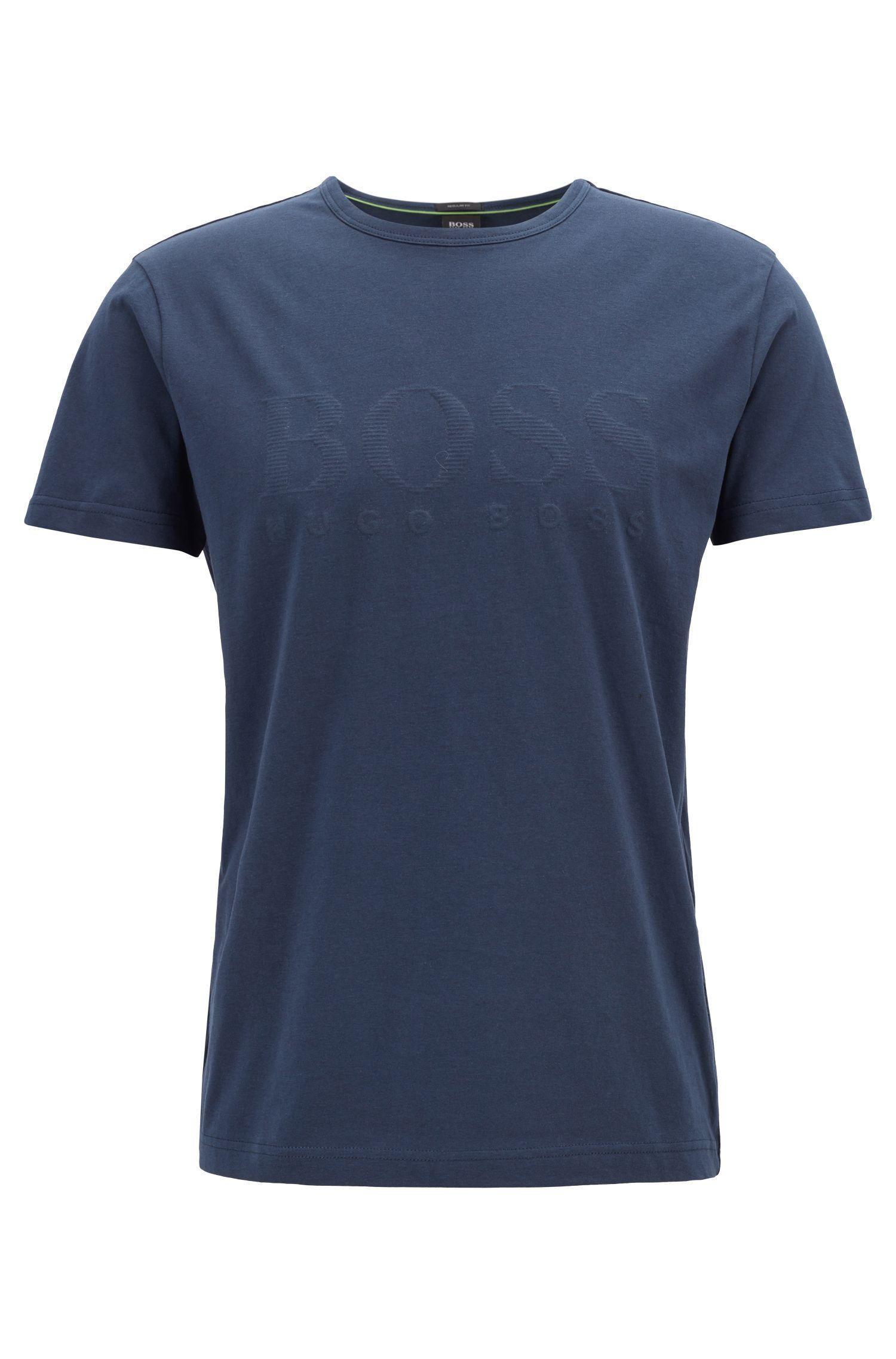 T-shirt en coton à logo imprimé ton sur ton, Bleu foncé