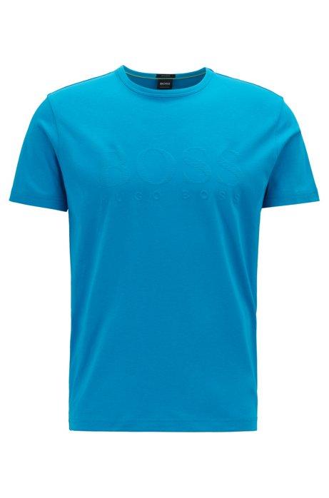 T-Shirt aus Baumwolle mit tonalem Logo-Print, Blau