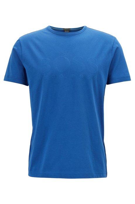 T-shirt en coton à logo imprimé ton sur ton, Bleu vif