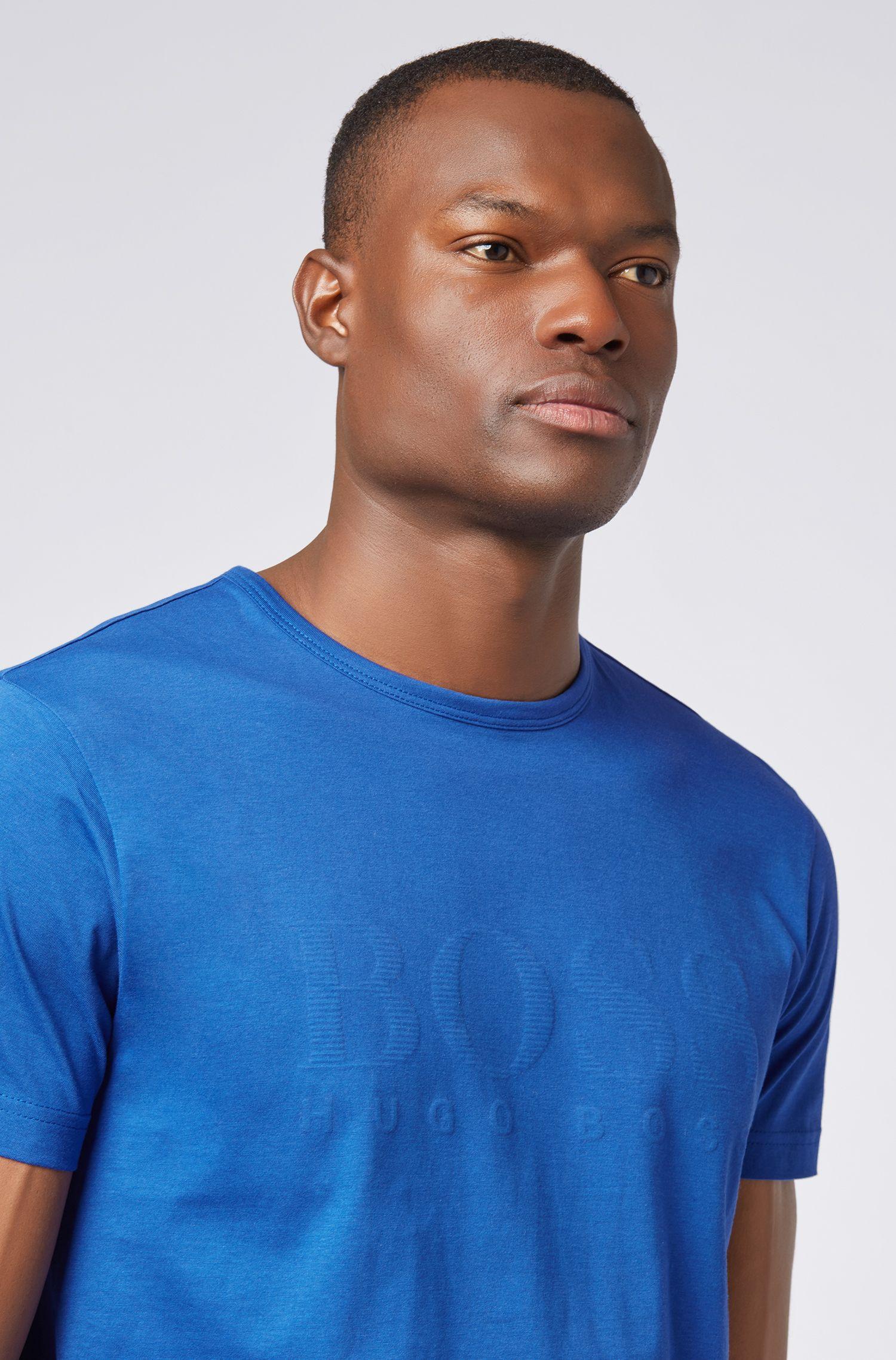 Cotton T-shirt with tonal logo print, Open Blue