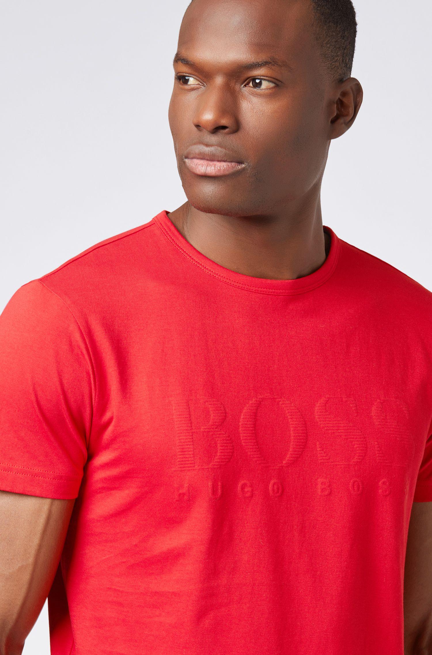 Cotton T-shirt with tonal logo print, Red