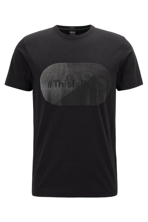 Hugo Boss - Camiseta de punto de algodón con logo estampado lenticular de goma - 1