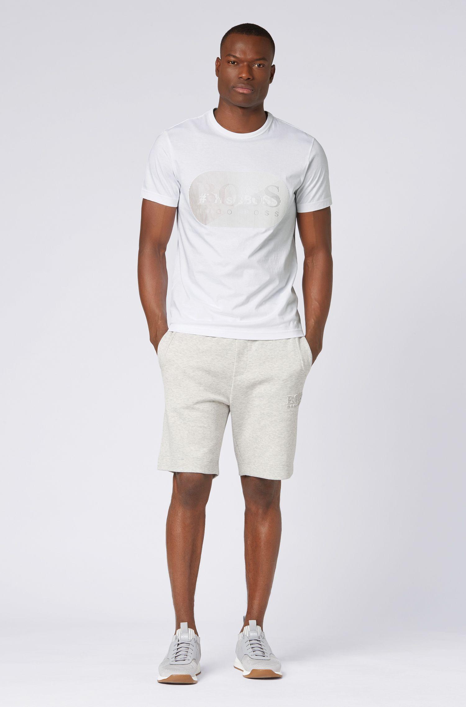 T-Shirt in jersey di cotone con logo stampato lenticolare gommato, Bianco