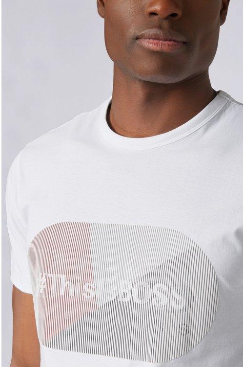 Hugo Boss - Camiseta de punto de algodón con logo estampado lenticular de goma - 4