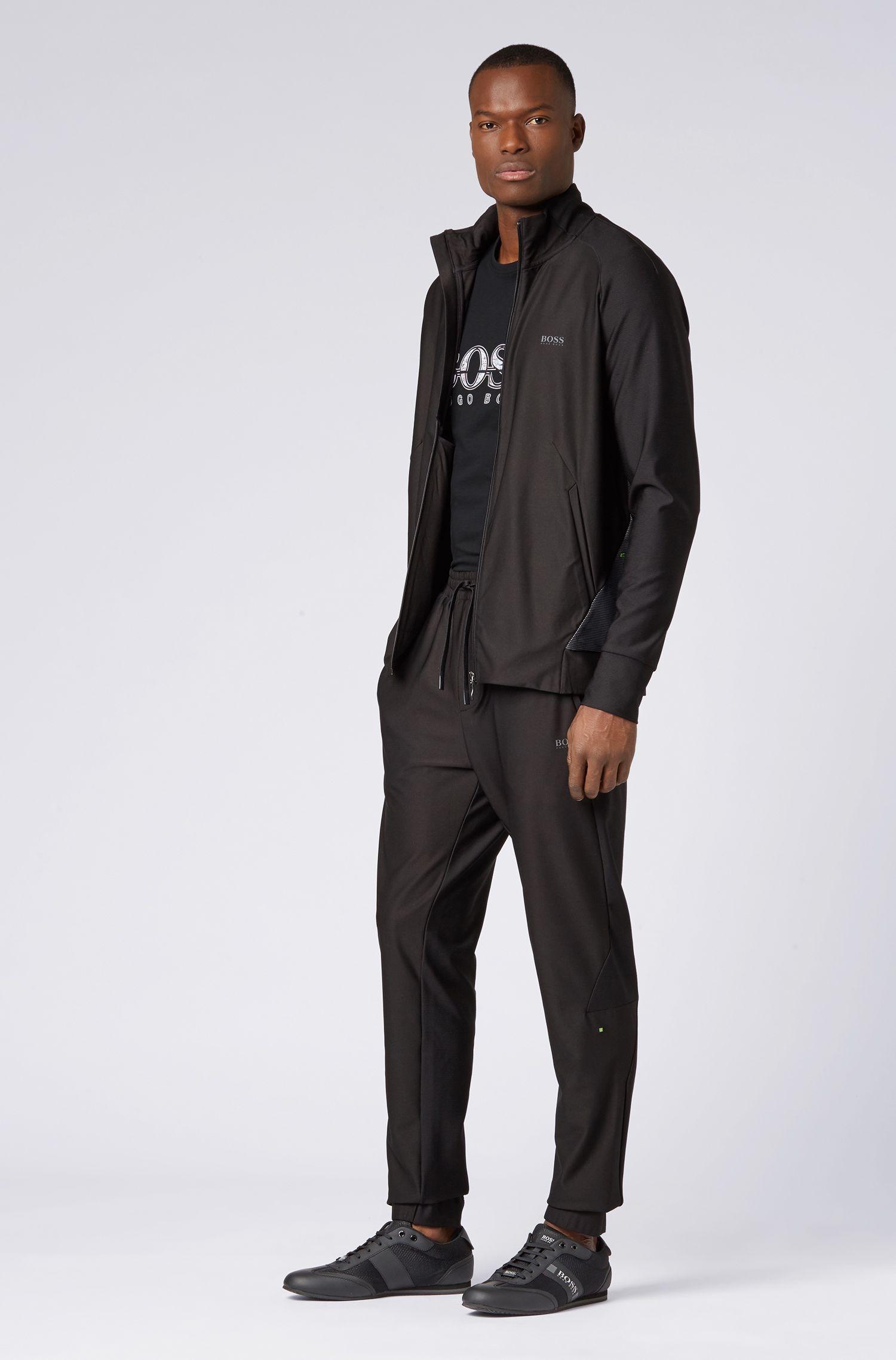 Camiseta regular fit de algodón con diseño con logo, Negro