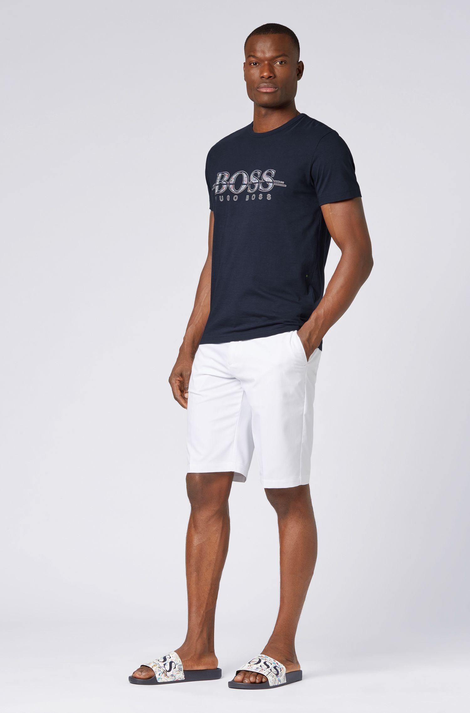 T-shirt regular fit in cotone con stampa del logo, Blu scuro