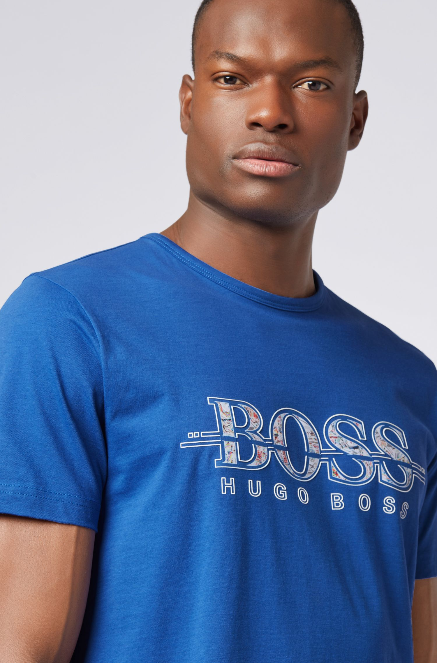 Regular-fit T-shirt van katoen met logo-kunstthema, Lichtblauw