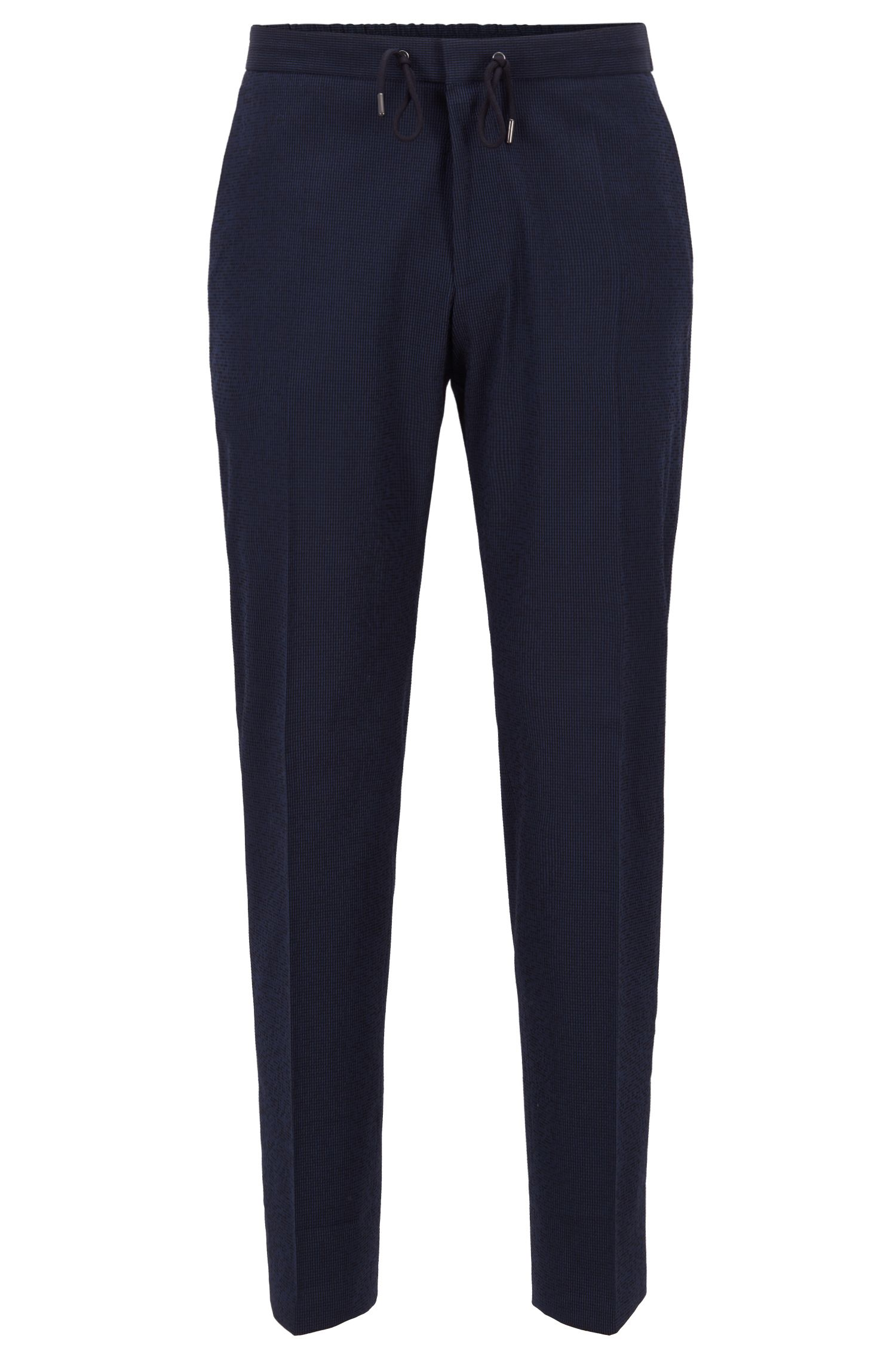 Cropped slim-fit trousers in cotton-blend seersucker, Open Blue