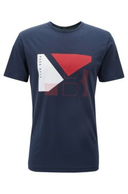 T-shirt regular fit in cotone con grafica a blocchi di colore, Blu scuro