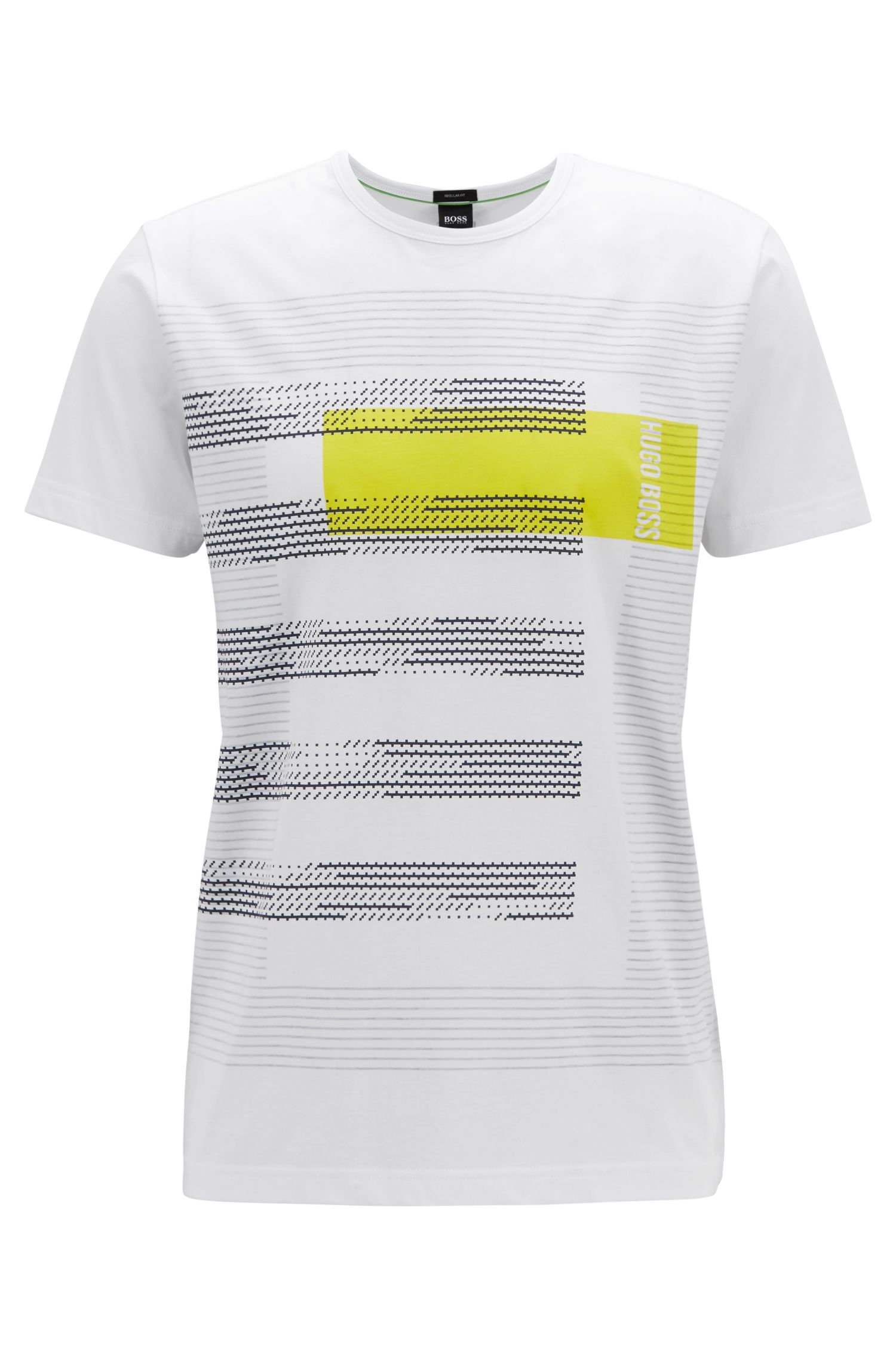 Regular-fit cotton T-shirt with stripe artwork, White