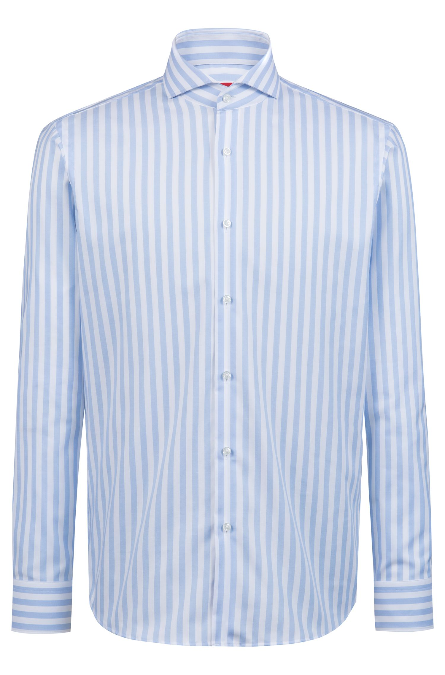 Oxford-cotton regular-fit shirt with spread collar, Patterned