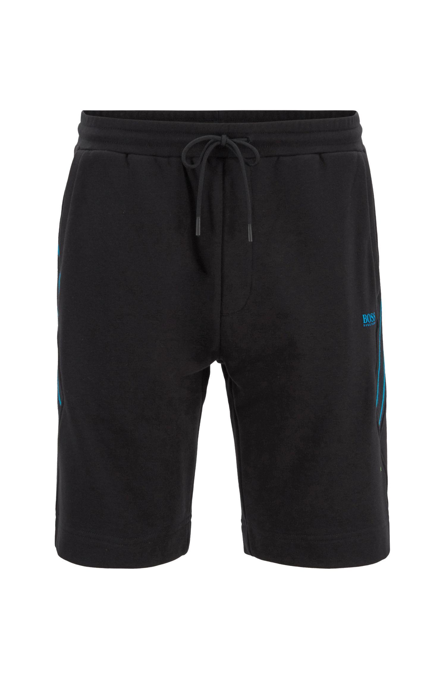 Shorts con cordón en felpa de rizo con apliques de rayas, Negro