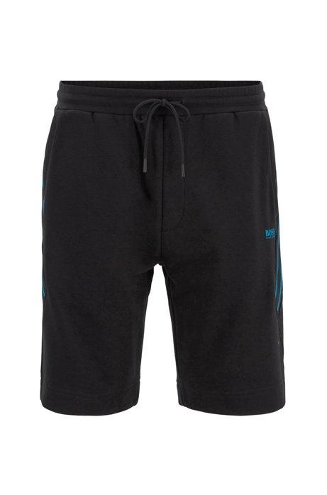 Short en molleton avec empiècements à rayures et cordon de serrage, Noir