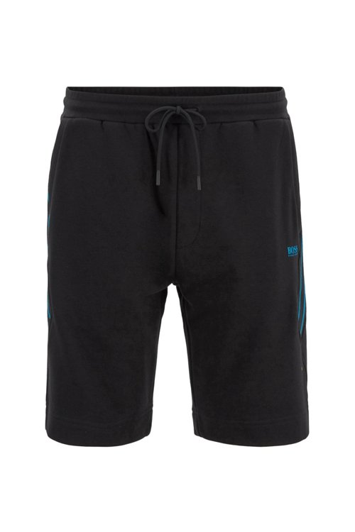 Hugo Boss - Drawstring shorts in French terry with striped inserts - 1
