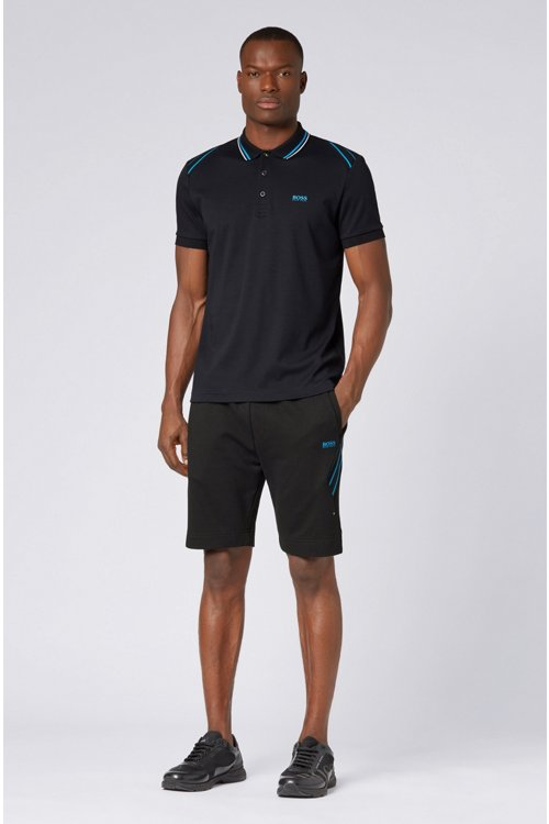 Hugo Boss - Drawstring shorts in French terry with striped inserts - 2