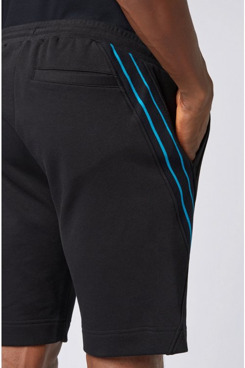 Hugo Boss - Drawstring shorts in French terry with striped inserts - 5