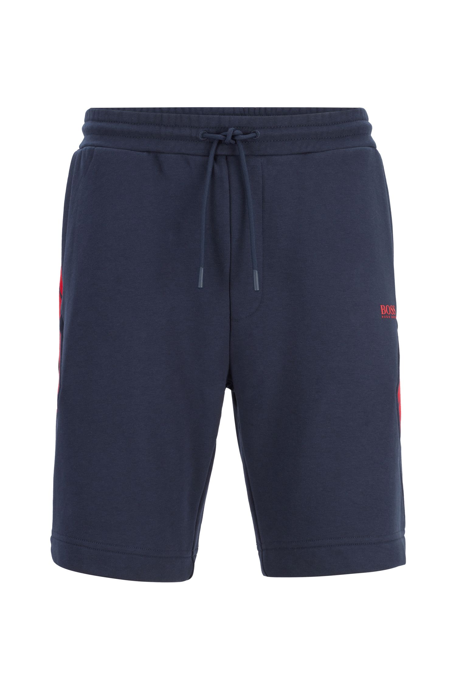 Drawstring shorts in French terry with striped inserts, Dark Blue